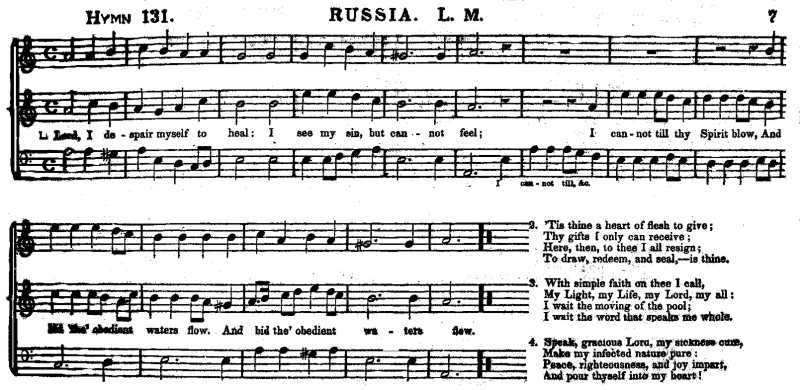 Example 2: RUSSIA from Sacred Harmony (Toronto, 1838)