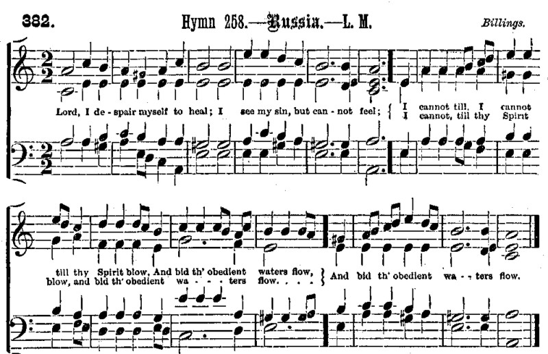 Example 9: RUSSIA, from Methodist Tune Book (Toronto, 1881)